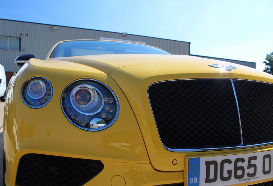 Bentley Continental gt s v8 monaco yellow headlights