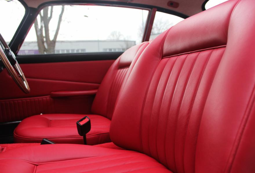 red leather interior on an aston martin