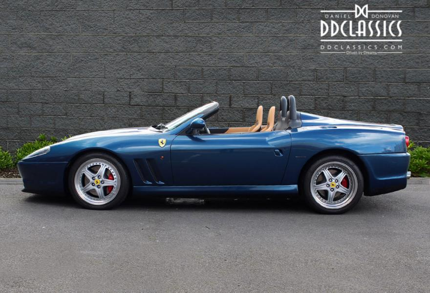 DD Classics is proud to offer this exclusive and rare RHD 550 Barchetta for sale, presented in a stunning colour combination of Blu Nart with Tan hide and Bordeaux carpets. Our car is in superb condition throughout, the paintwork is exquisite, the bodywork is straight, the removable soft-top remains unmarked and is easy to erect. Inside, the 550 emanates exclusivity, its Tan hide seats are in wonderful order and with the carbon fibre racing seats this really feels like one special Ferrari. Our 550 Barchetta has travelled a mere 13,800 miles from new and comes complete with the original Ferrari bookpack and service book as well as a comprehensive file of paperwork. The service book shows the car was first owned by a famous British rockstar and contains a total number of 11 stamps from Ferrari dealers.