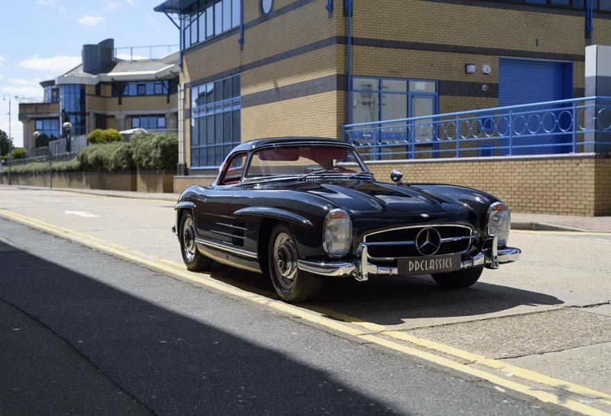 Black Mercedes Benz 300SL Roadster LHD