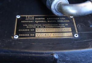 aston martin chassis plate