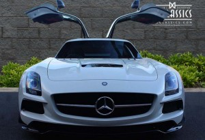 white mercedes sls amg black series gullwing doors picture
